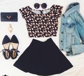 t-shirt,skirt,jacket,shoes