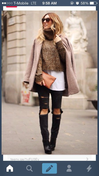 sweater cropped turtleneck fall outfits
