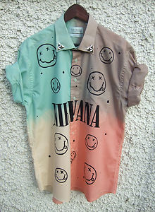 Dip tie dye ombre shirt dress grunge 90s nirvana nevermind studs four tone