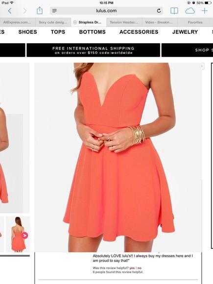 coral dress flared dress