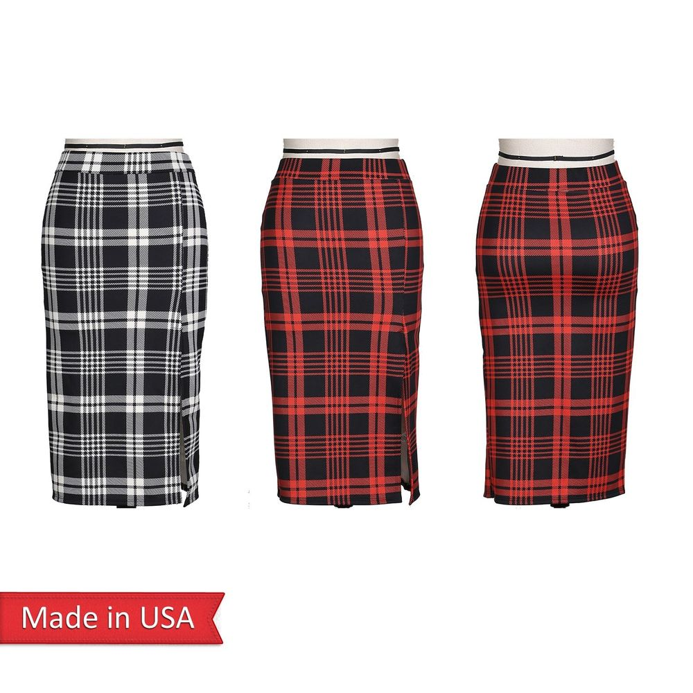 New Holiday Plaid Check Preppy Checker Print Black Red Pencil Skirt w/ Slit USA
