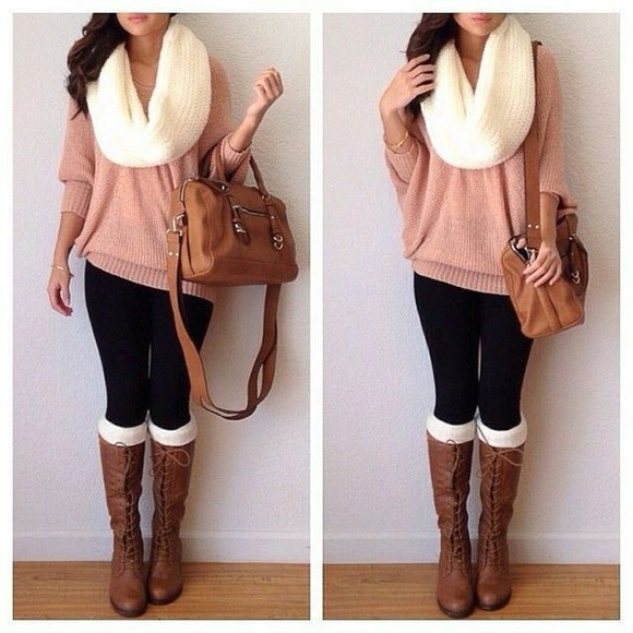 shoes boots cute winter outfits scarf bag leggings brown boots sweater brown bag socks