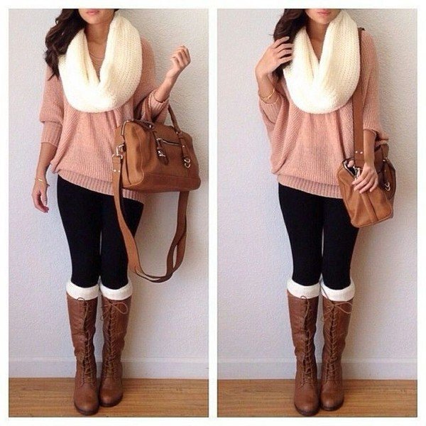 pink sweater infinity scarf leggings knee high boots shoulder bag brown bag bag sweater shoes shirt riding boots beige scarf top black pants boots lace amiclubwear white