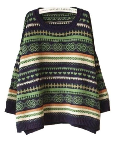 Multi Color Aztec Geometry Stripe Bat Sweater