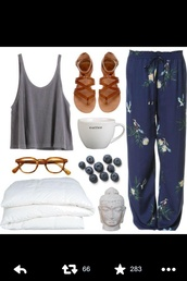 pants,blue floral comfy pants,shirt,shoes,boho,bohemian,sandals,crop tops,comfy,lazy day,style,spring,summer dress,bottoms,cute,tank top,flowers,blur bohemian pants