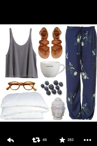 blue floral comfy pants shirt shoes pants boho bohemian sandals crop tops comfy lazy day style spring summer dress