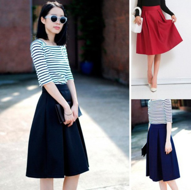 Skirt: 80s style, 80s skirt, pleated, pleated skirt, a line, a ...
