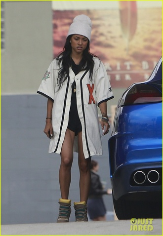 white t-shirt jersey baseball tee beanie chris brown jacket karrueche