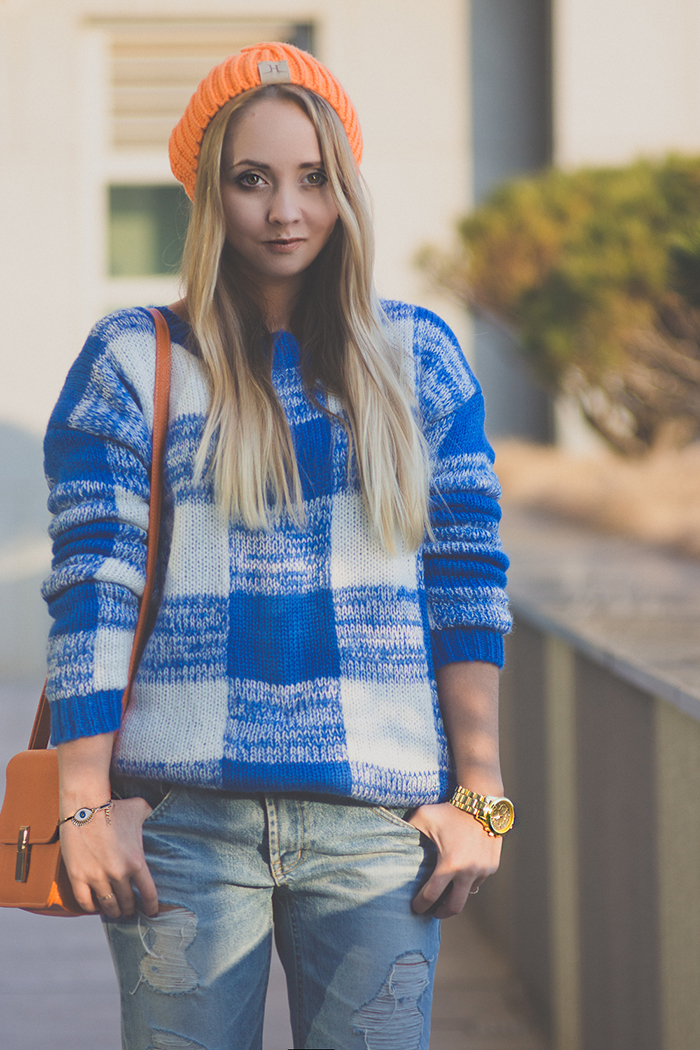 My Blonde Gal: Plaid sweater with New Balance