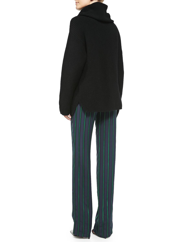 Theory Naven Oversize Knit Turtleneck Sweater & Pajeema Striped Polished PJ Pants