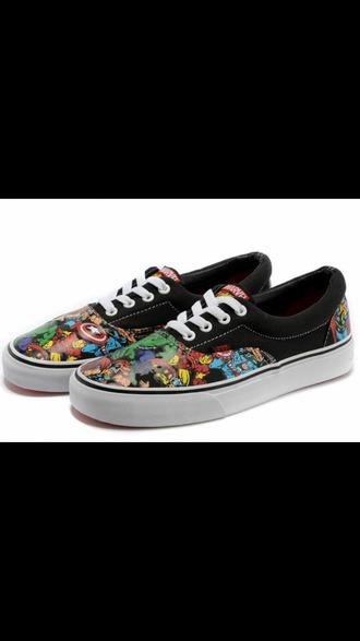shoes superheroes vans sneakers cool trendy teenagers boogzel multicolor low top sneakers marvel