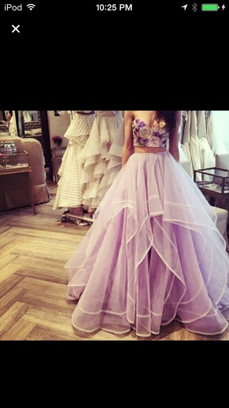 dress flowers flowy prom dress two peice dress
