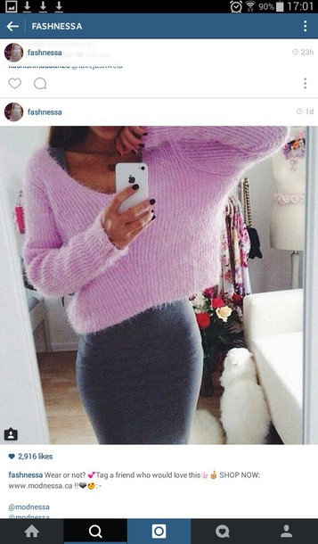 sweater jumper fluffy cropped grey skirt