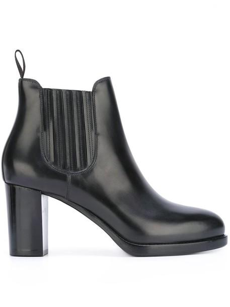 Santoni heel chunky heel women boots chelsea boots leather grey shoes