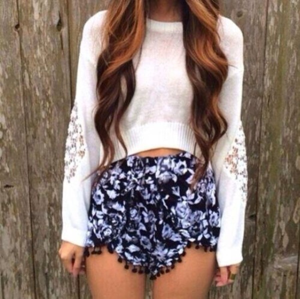 shirt shorts white shorts high waisted blue shorts High waisted shorts floral flowered shorts sweater white sweater purple and black purple High waisted shorts lace bottom