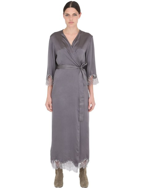 wide selection limpid in sight outlet online PINK MEMORIES Long Silk Satin Dressing Gown in grey