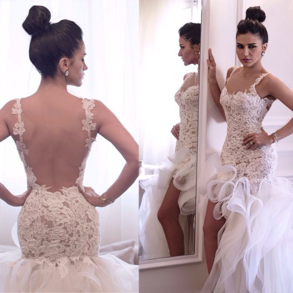 Aliexpress.com : buy new arrival spaghetti straps sexy backless lace high low wedding dresses 2015 with ruffles short front long back bride dress from reliable wedding dress white rose suppliers on suzhou babyonline dress store