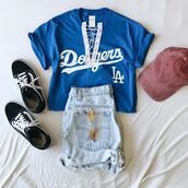 t-shirt,fashion,dodgers,trendy,trendys,baseball,outfit,cute,spring,bellexo,summer outfits,style me