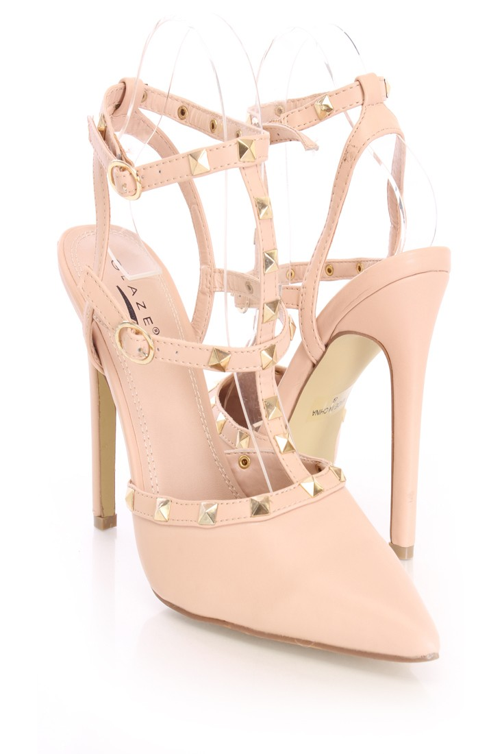 Nude Studded Strappy Single Sole Heels Faux Leather