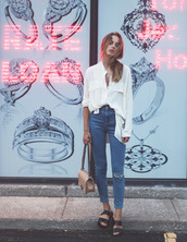 jeans,fal,hipster,grunge,indie,summer outfits,super high rise jeans,dark wash,stretchy,blouse,cream,classy,top,button up blouse,dressy,help me find,shoes,vintage,high waisted,ripped jeans,shirt,bag,sandals,streetwear,jewels,asymmetric shirt,white shirt,nude bag,flat sandals,black sandals,casual,spring outfits,slide shoes,black slides