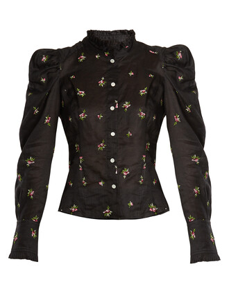 blouse embroidered floral black top