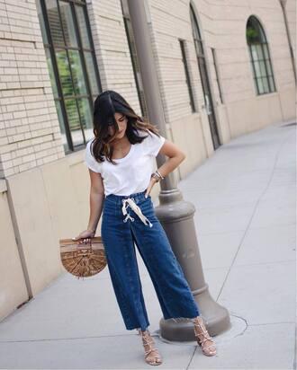 jeans tumblr denim culottes denim culottes sandals sandal heels high heel sandals bag t-shirt white t-shirt shoes