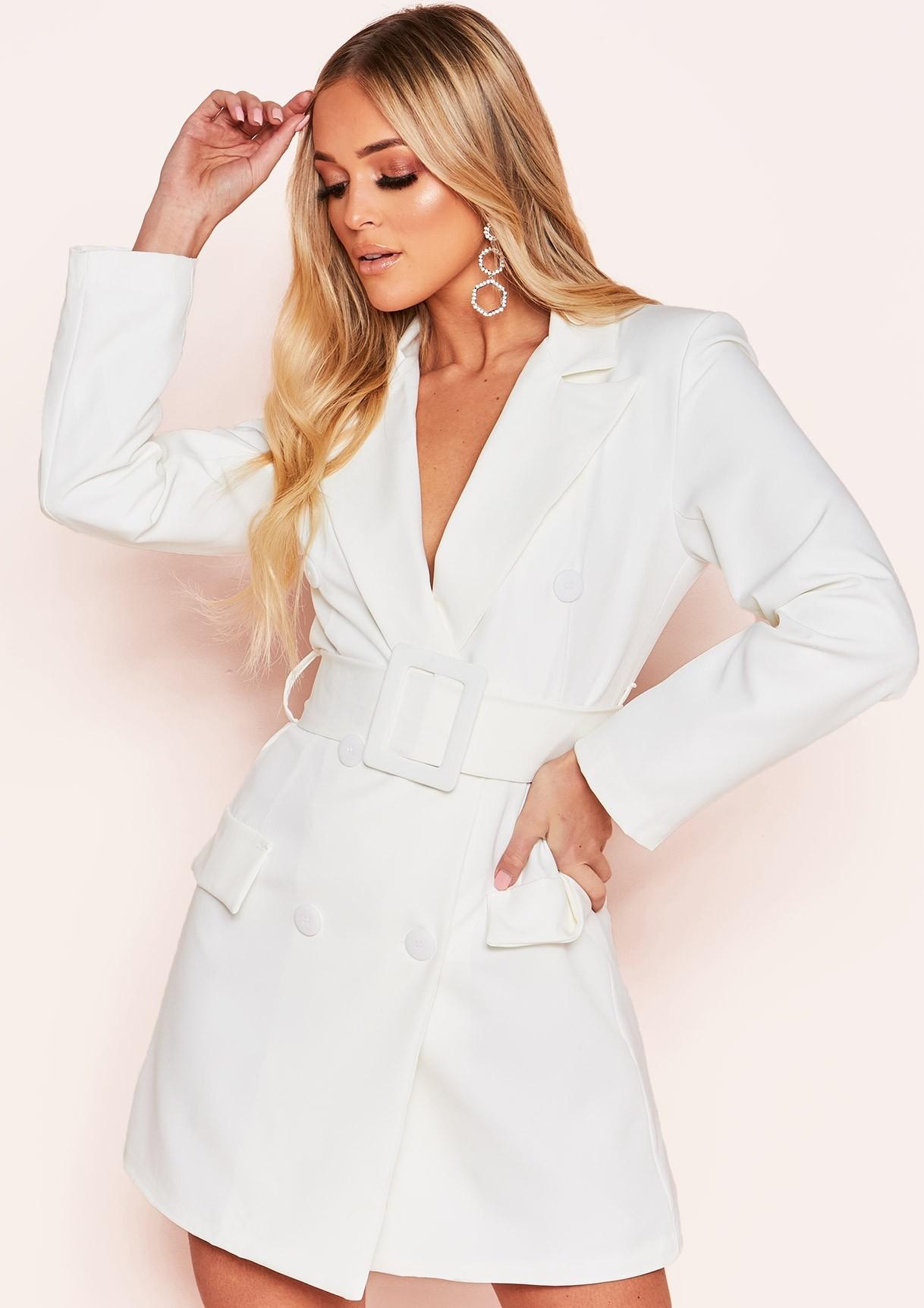 Hena White Belted Blazer Dress