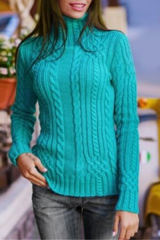sweater mint fashion turquoise knitwear elegant solid color turtleneck twist wave thick pullover sweater for women fall outfits warm style rosegal-dec winter sweater turtleneck cozy jumper pullover trendy long sleeves rose wholesale-jan