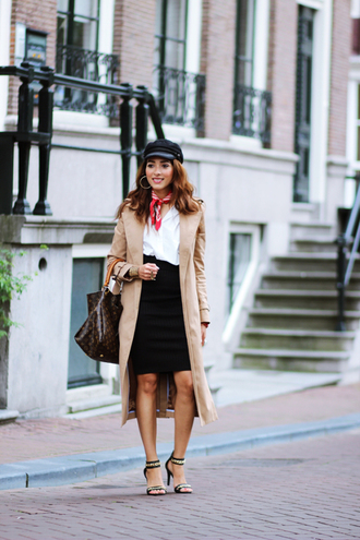 preppy fashionist blogger hat blouse skirt coat shoes bag jewels