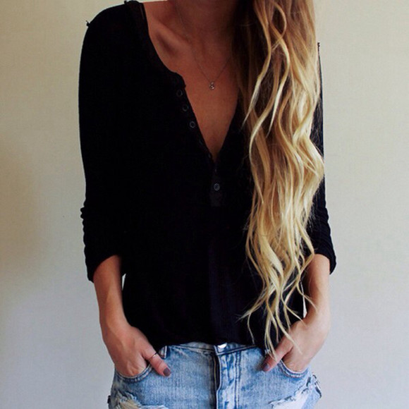 long sleeves blouse oversized sweater cardigan long hair wavy hair top buttons down blonde hair t-shirt black black cardigan buttons jeans