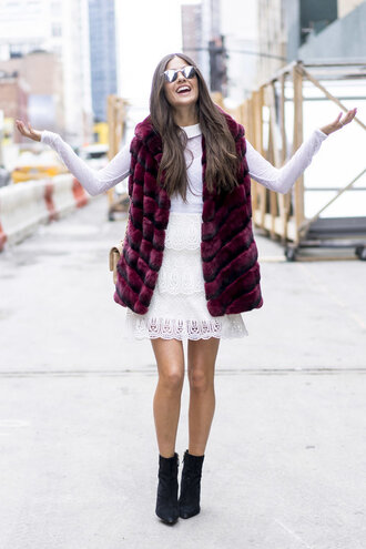 skirt top lace dress lace fashion week 2016 streetstyle boots fur fur vest ny fashion week 2016