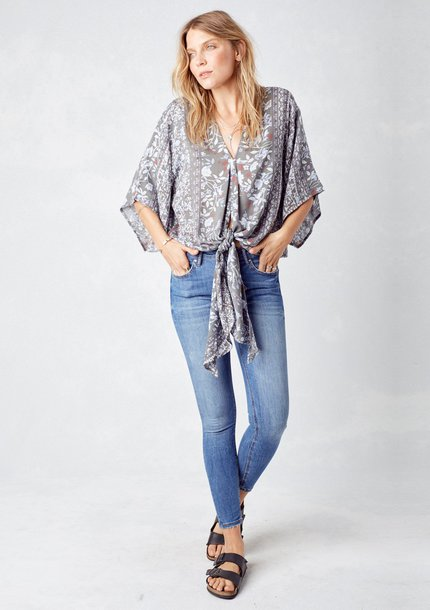bf9a8dfd47f blouse floral floral top boho chic bohemian top tie-front top ethereal  kimono kimono sleeve