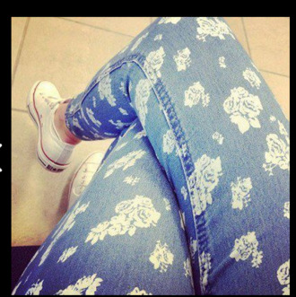 jeans flowers lovely converse