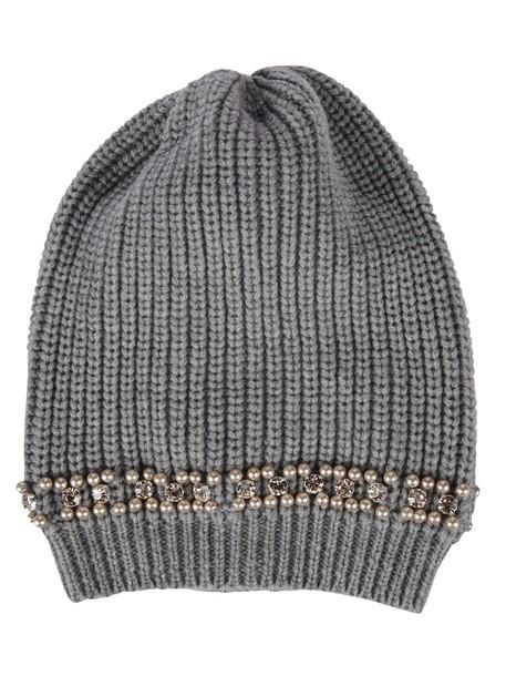 Blugirl pearl embellished beanie grey hat