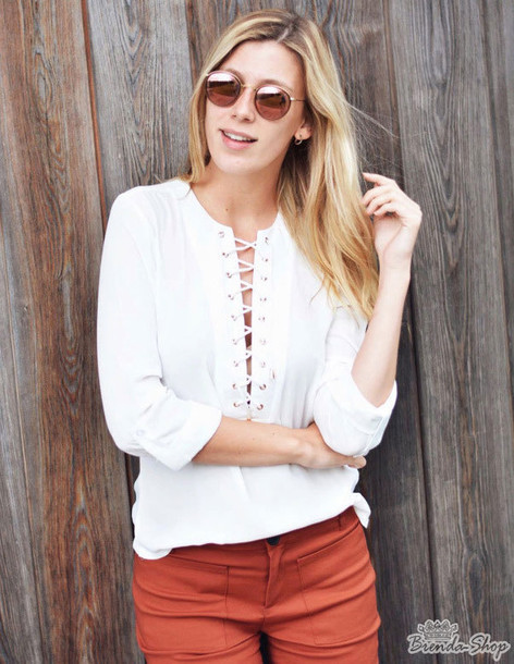 blouse top best affordable brenda-shop shirt lace up lace up top white  white top 2ab3b1ae0