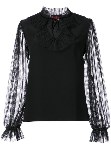 Nha Khanh blouse ruffle women black top