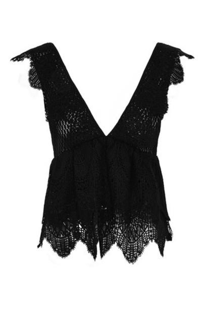 Topshop top peplum top lace black