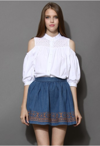 Aztec Stitch Denim Skater Skirt Navy  - Retro, Indie and Unique Fashion