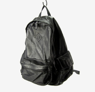 bag black leather black backpack leather