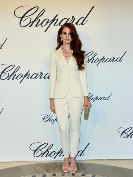 lana del rey white pants sexy suit coat white coat