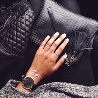 bag black wallet wristlet woven leather wristlet jewels watch round luxury cool black watch