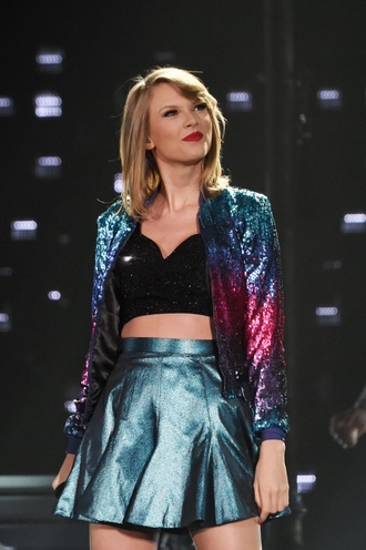 jacket taylor swift metallic skirt shiny galaxy print