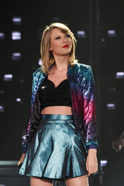 Jacket taylor swift metallic skirt shiny galaxy print Wheretoget