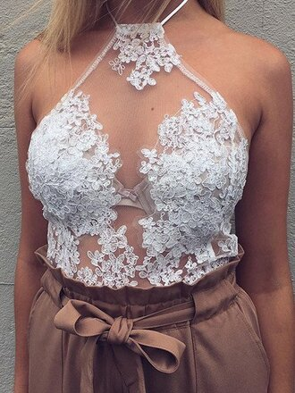 top girl girly girly wishlist lace lace top halter top see through halter neck sheer cute crop crop tops cropped halter crop top