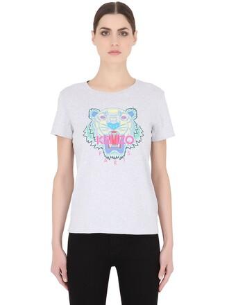 t-shirt shirt tiger cotton grey top