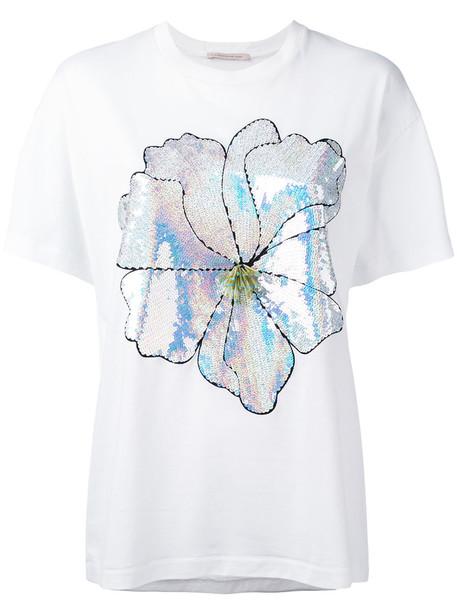Christopher Kane - large sequin flower T-shirt - women - Cotton - XS, White, Cotton