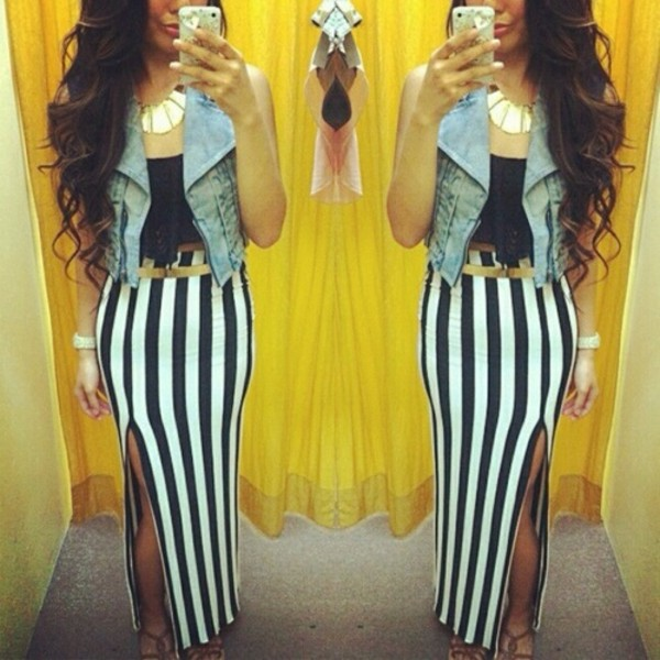 skirt maxi stripes beautiful
