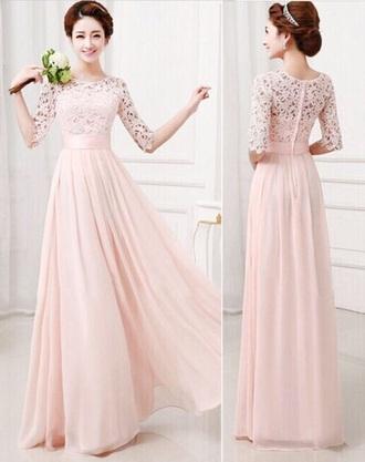 dress pink long dress lace dress half sleeve round neck women dress chiffon dress summer dress wedding dress