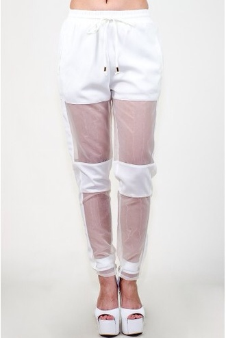 pants mesh leggings mesh pants dope white pants sheer pants blouse red lime sunday white
