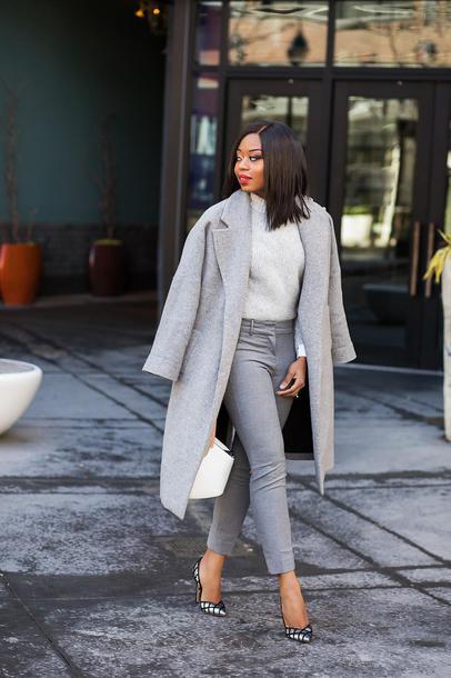 jadore-fashion blogger pants shirt sweater coat bag shoes grey coat pumps grey pants spring outfits